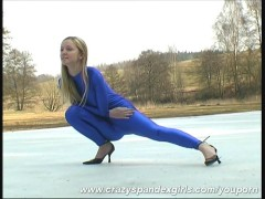 Blonde Katerina spandex strip in snow