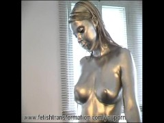 Picture Big breast girl complete painted in silver
