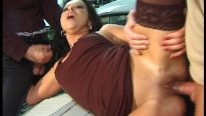 Sexy latina gets fucked in the garage by two cocks (clip)