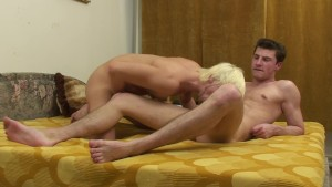 Blonde stud comes on boyfriend's face