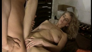 Older woman likes the young cock in the wine cellar. (Clip)
