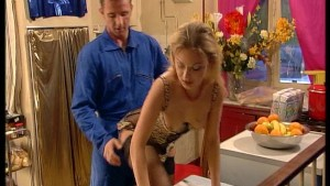 Hot European blonde in sexy underwear has the plumber check her pipes. (Clip)