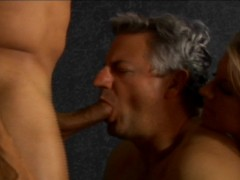 Picture Hot blonde and an old man share a big cock