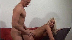 Blonde moans loudly while getting fucked