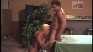 Hot slutty blonde likes cum on her body