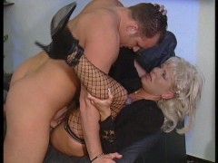 Blonde chick gets a face full of cum