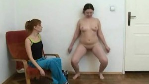Fat girl working out nude with