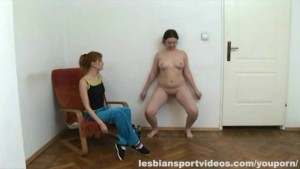 Fat girl working out nude with instructor