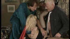Cute blonde takes on the sultan and his two men.