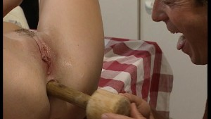 Pussy pumping in the kitchen