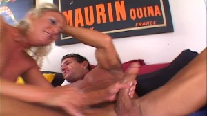 Horny blonde plays with soft cock (clip)
