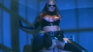 Female cop in uniform fucking in latex lingerie