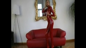 Glamour Sophie strips in shiny lycra (clip)