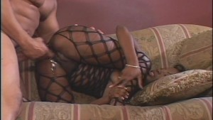 Wild black girl in black lace getup gets reamed out