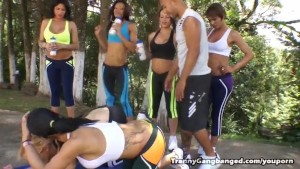 Trannies Gang Bang Their Personal Trainer