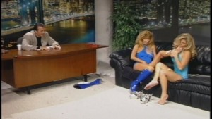 Dude gets lucky on a talk show and bangs two hot ladies