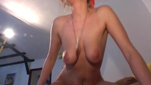 Blonde with nice tits gets cum on the stomach