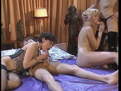 Elaborate Euro foursome with 3 chicks and a strap-on