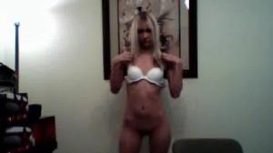 Petite blonde girlfriend rubs