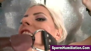 Gagged blondage blonde swallows cum