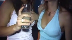 Party girls kissing then fuck back stage