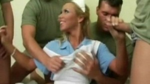 Hot nurse gangbanged by the army