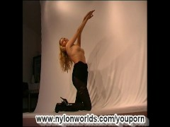 Picture Amateur girl strip in nylon clip
