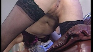 Blonde lingerie model gets fucked