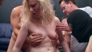 Slutty blonde fucked by group