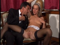 Sexy blonde maid gets boned