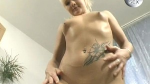 Cute young blonde playing with