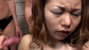 Asian girl on her knees for ma