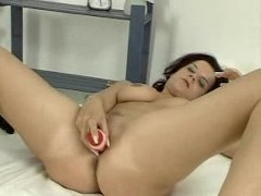 Sweet brunette dildos herself