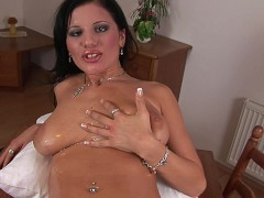 Amazingly hot brunette Giovana masturbating