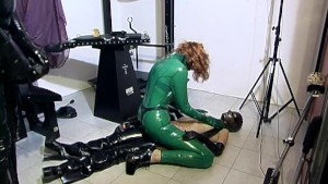 Latex threesome on the floor