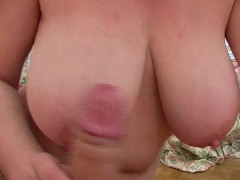 Picture Busty mature broad sucks a fat cock