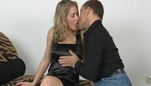 Blonde girl takes a load