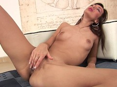 Sexy slender Patricie plays with herself on the floor - CzechSuperStars