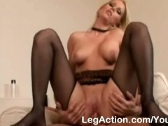 Picture Blonde in stockings gives awesome footjob