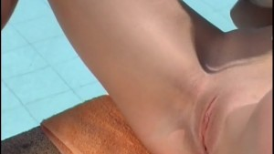 Beautiful lesbians in a sensual poolside scene - Pandemonium