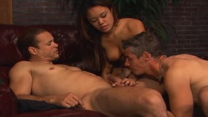 Asian hottie with two bisexual guys