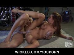 Hot Big Tit brunette babe sucks & fucks the mechan