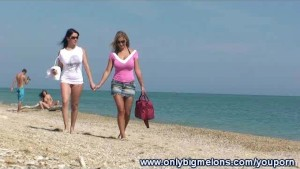 Carol & Adrianne Busty Beach Fun