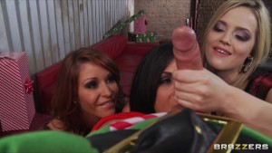 Busty Pornstars in lingerie fuck Elf's big dick in hot orgy party