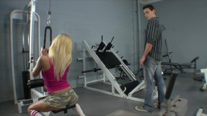 Flexible Petite blonde Teen slut fucked by a hard dick in the gym
