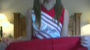 Cheerleader Adrianne laced panty upskirt