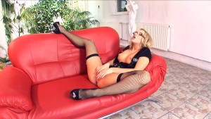 Blonde fucking in black stockings and stilettos
