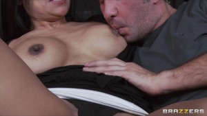 Horny Big-Tit Brunette Latina MILF fucks daughter's BF's hard dick