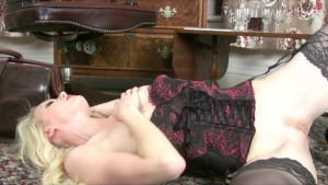 Hot young skinny blonde slut in lingerie striptease to orgasm