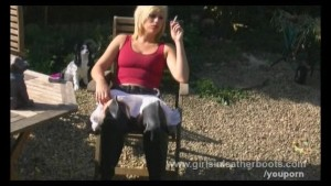 Hot Axajay smoking and showing pussy in leather boots